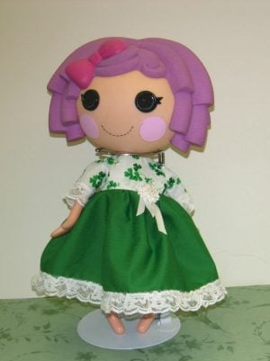 "St. Patrick's Day dress for 13"" LaLaLoopsy dolls shamrock top and emerald green skirt."