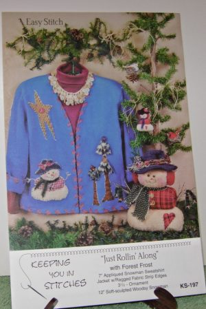 Snowman Just Rollin Along pattern for jacket, ornaments or free standing snowman