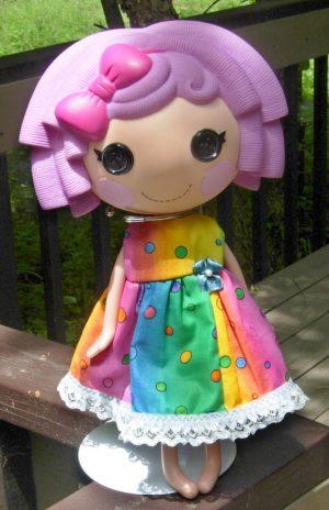 "Colorful summer dress for 13"" La La Loopsy dolls"