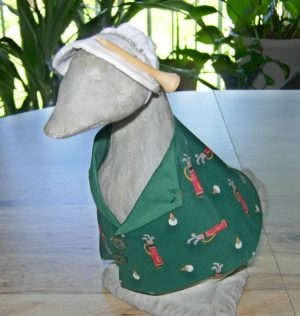 "Golf green outfit for 9"" gosling cement goose with sun visor"