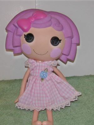 Pink and white gingham dress for LaLaLoopsy dolls