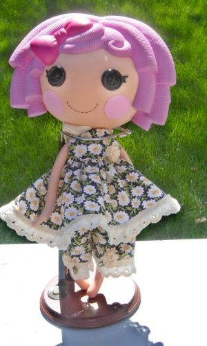 Daisies on black 2 piece outfit for large LaLaLoopsy dolls