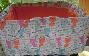 Orange seat with cat print shopping cart cover for pet cats
