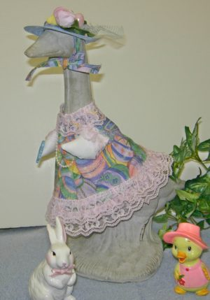 "Easter pastel eggs with pink lace and blue hat for 14"" cement goose"