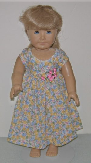 Tiny flowers in yellow, pink, blue American Girl Doll dress in 18""