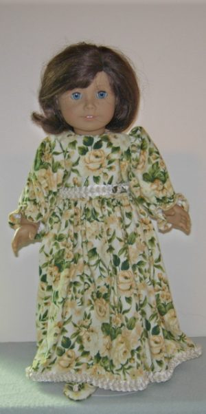 Flannel yellow flowers 2pc dress with matching shoes for American Girl Dolls