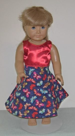2 pc butterfly skirt and red sleeveless top for American Girl Dolls