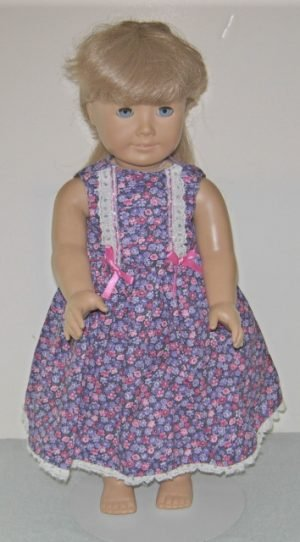 "Tiny pink and purple flowers dress for 18"" American Girl Dolls"