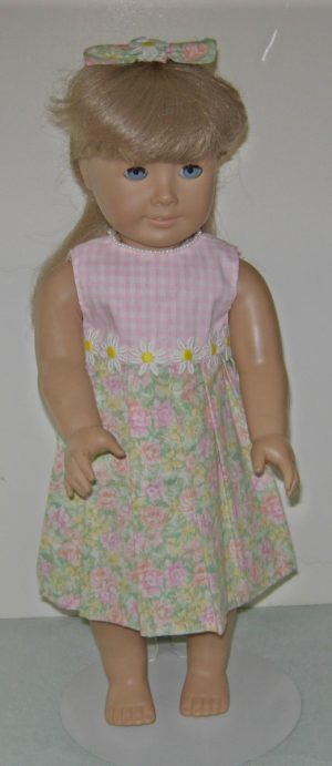 "Pink and white checked bodice and flowered skirt doll outfit for 18"" dolls"
