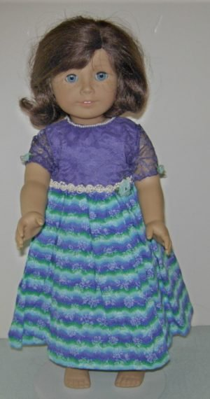 Purple lace top with striped skirt in turquoise and purple for American Girl Dolls