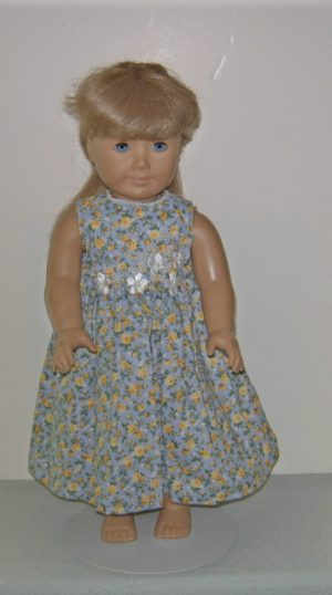 Long blue dress with yellow roses for American Girl dolls