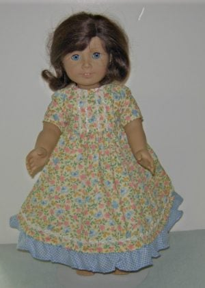 "Yellow dress with blue butterflies. Gingham ruffle for 18"" dolls"