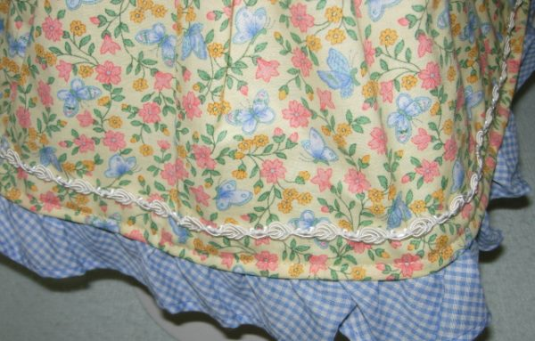 """Yellow dress with blue butterflies. Gingham ruffle for 18"""" dolls"""