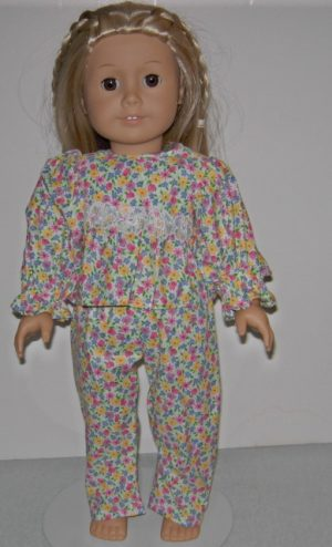 Multi colored flowered p j's 2 piece for American Girl Dolls
