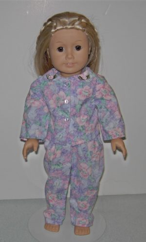 Lavender and pink 2 piece flowered p j's for American Girl Dolls
