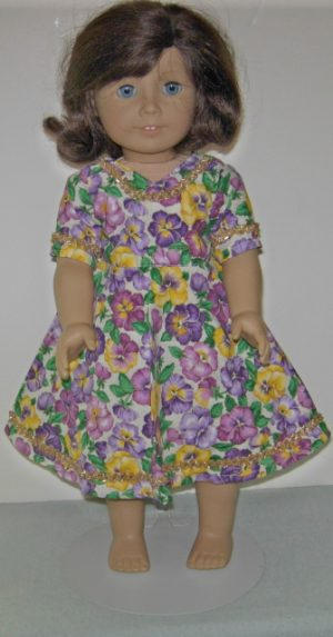 Pansy dress in purples and yellows