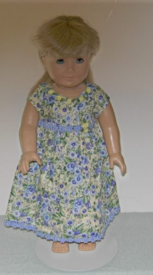 Blue pansies on beige background with silver for American Girl Dolls