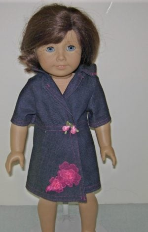 American Girl denim wrap dress trimmed in hot pink