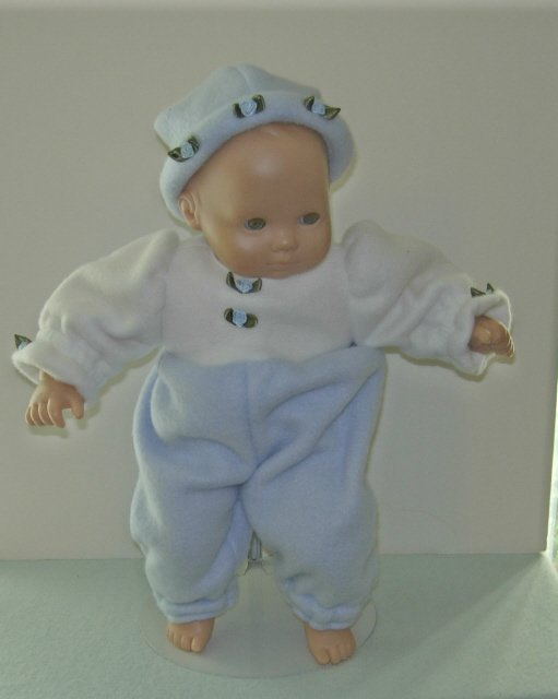 2 piece blue and white fleece outfit for Bitty Baby