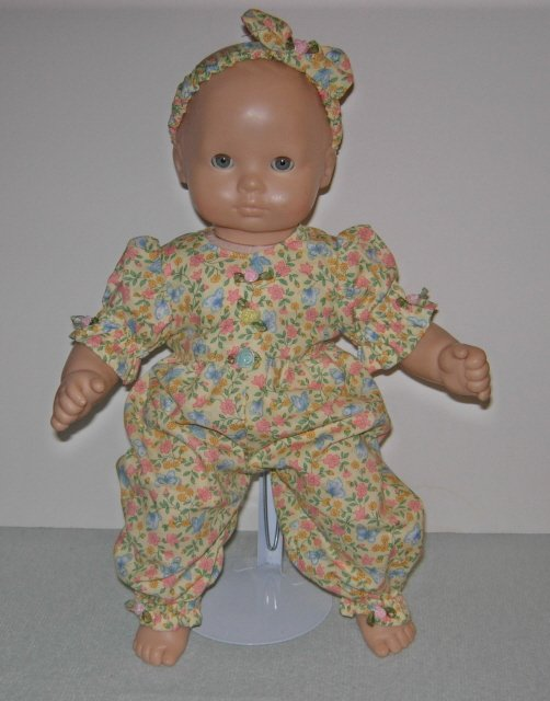 "Yellow romper with butterflies with matching headband for 15"" or Bitty Baby dolls"