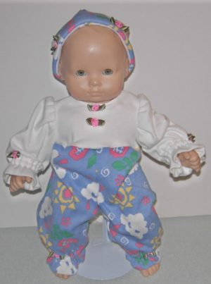 "Romper in white top and blue clouds with matching hat for 15"" dolls"