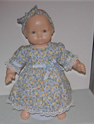 "15"" blue with yellow roses 3 piece outfit for Bitty Baby dolls"