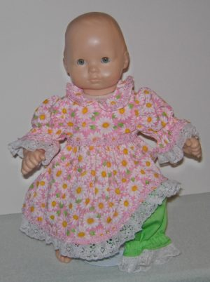"2 piece pink dress with daisies and panties for 15"" dolls"