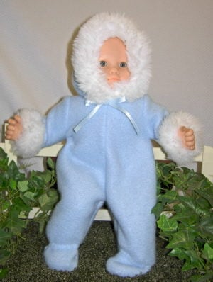 Bitty Baby romper in light blue fleece trimmed in white fur with matching mittens