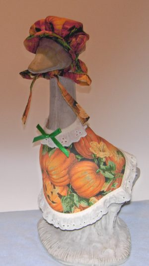 "Fall subdued pumpkins Dress for 14"" cement goose"