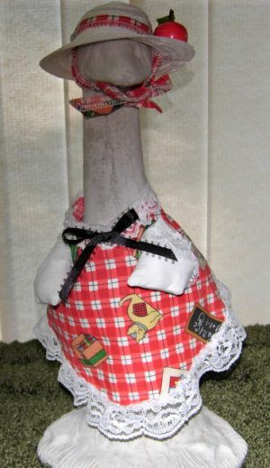 """Back to school red and white checked fabric for 14"""" cement goose"""