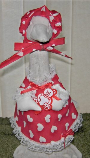 "Valentine's Day Red with white hearts Goose dress for 14"" cement geese"