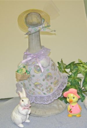 "Easter lavender and white checked with yellow hat for 14"" cement geese"