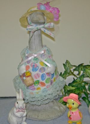 "Easter Mini eggs with light green lace Goose dress for 14"" cement geese"