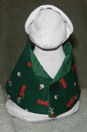 """Golf outfit in green with sun visor Geese clothes for 6"""" cement goose"""