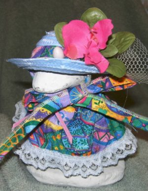 "Easter in bright eggs with blue lace and hat for 6"" goose"