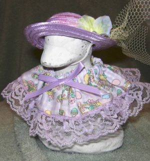 """Easter lavender checked fabric with tiny eggs Geese clothes for 6"""" cement goose in w"""