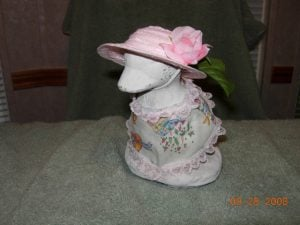 """Easter pastel eggs with pink lace and hat for 6"""" goose"""