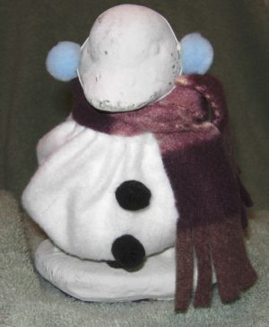 "Winter Snowman with plaid scarf for for 6"" baby cement goose"