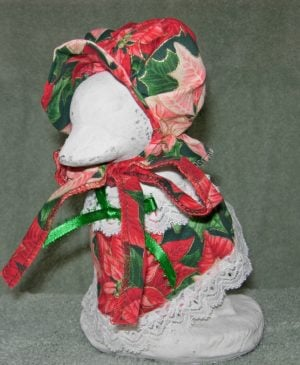 """Christmas Traditional red pointsettias for 6"""" baby cement goose"""