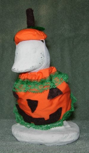 """Fall Pumpkin outfit with fabric top Geese clothes for 6"""" cement goose"""