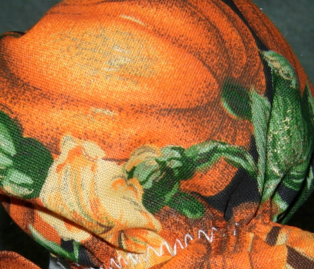 """Fall Subdued pumpkin fabric for fall Geese clothes for 6"""" cement goose"""