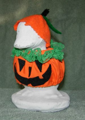 """Fall Pumpkin outfit with felt hat for 6"""" cement geese"""