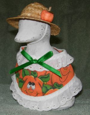 """Fall Happy face pumpkins with straw hat Geese clothes for 6"""" cement goose"""