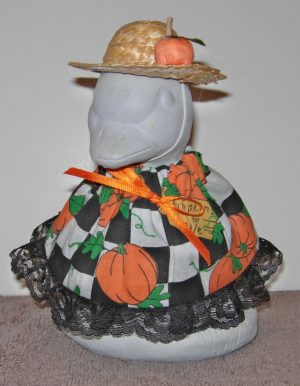 "Fall Pumpkins for sale with straw hat Geese clothes for 6"" cement goose"