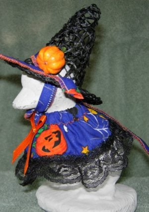 Halloween Blue witch with a witch hat for baby cement goose