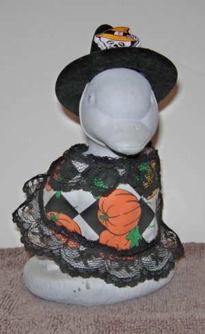 """Halloween Black and white check with witch hat Geese clothes for 6"""" cement goose i"""