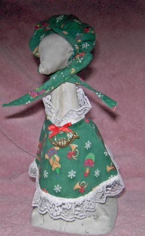 "Christmas dress in green toy pattern Cement goose outfit for 9"" upright goose"
