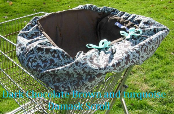 Dark chocolate brown and turquoise damask scrolls shopping cart cover for baby girls. Free tote bag.