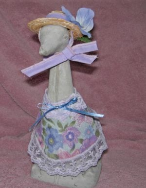 "Spring blues and lavenders with a straw hat Cement goose outfit for 9"" upright goose"