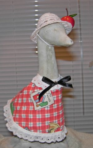 "Back to school outfit in red and white checked for 9"" upright geese"